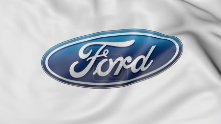 Close up of waving flag with Ford Motor Company logo, 3D rendering