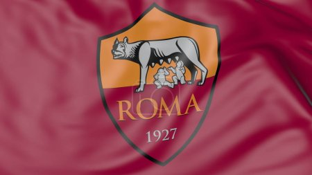 Close-up of waving flag with A.S. Roma football club logo