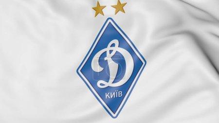Close-up of waving flag with Dynamo Kyiv football club logo, 3D rendering