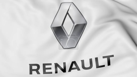 Close-up of waving flag with Groupe Renault logo, editorial 3D rendering