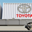 Постер, плакат: Railway transportation of containers with Toyota logo Editorial 3D rendering