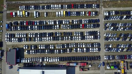 Aerial shot of new cars and trucks parking, top view