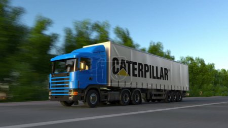 Freight semi truck with Caterpillar Inc. logo driving along forest road. Editorial 3D rendering