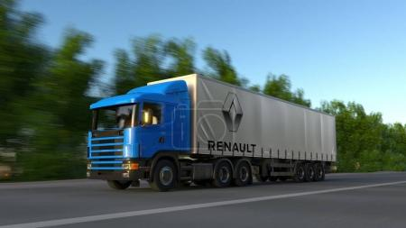 Freight semi truck with Groupe Renault logo driving along forest road. Editorial 3D rendering
