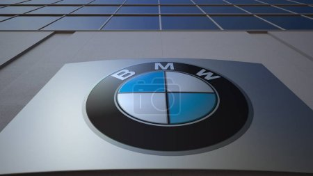 Outdoor signage board with BMW logo. Modern office building. Editorial 3D rendering