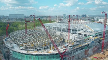 MOSCOW, RUSSIA - MAY, 19, 2017. Aerial shot of football stadium Dinamo or VTB Arena construction site