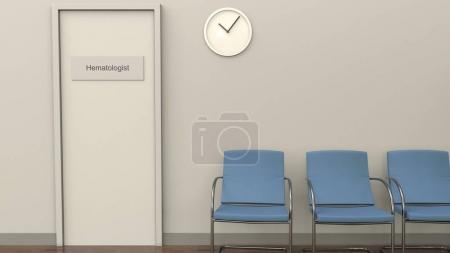 Waiting room at hematologist office. Medical practice concept. 3D rendering