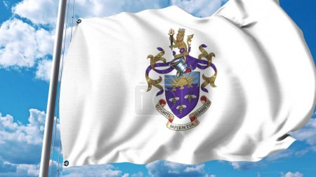 Waving flag with University of Manchester emblem. Editorial 3D rendering