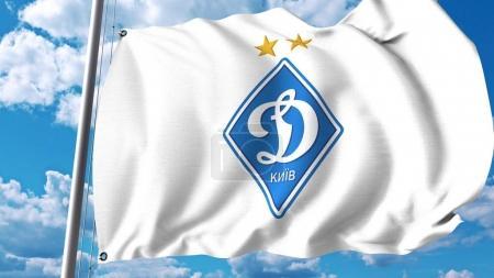 Waving flag with Dynamo Kyiv football club logo. Editorial 3D rendering