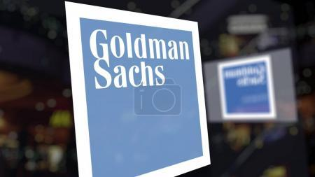 The Goldman Sachs Group, Inc. logo on the glass against blurred business center. Editorial 3D rendering