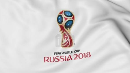 Waving flag with 2018 FIFA World Cup logo close-up. Editorial 3D rendering