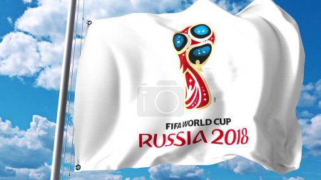 Waving flag with 2018 FIFA World Cup logo against sky background. Editorial 3D rendering