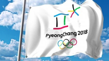 Waving flag with 2018 Winter Olympics logo against clouds and sky. Editorial 3D rendering