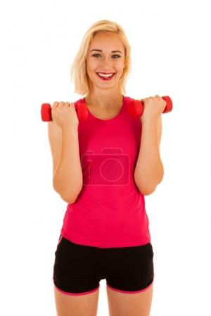 Active sporty woman works out with dumbbells isolated over white