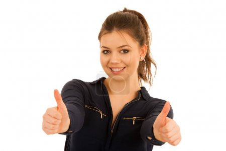 beautiful young woman showing thumb up as a gesture for success