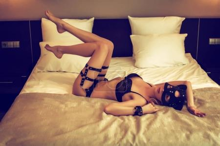 Beautiful sexy lingerie model, bdsm cat style mask