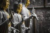 Řada ze soch Buddhy v Ganagarama chrámu, Colombo, Srí Lanka