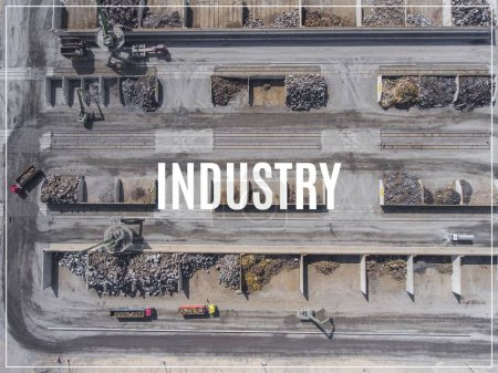 Photo for Word Industry.Iron raw materials recycling pile, work machines. Metal waste junkyard. View from above. - Royalty Free Image