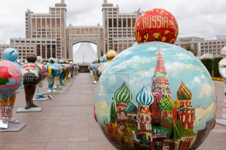 ASTANA, KAZAKHSTAN - SEPTEMBER 13, 2017: Art installation in the