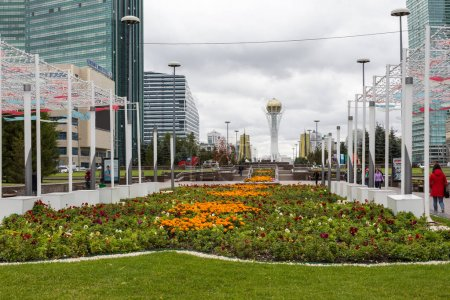 ASTANA, KAZAKHSTAN - SEPTEMBER 13, 2017 : Bayterek tower is the