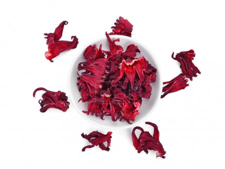 top view of dried hibiscus sabdariffa or roselle fruits in the w