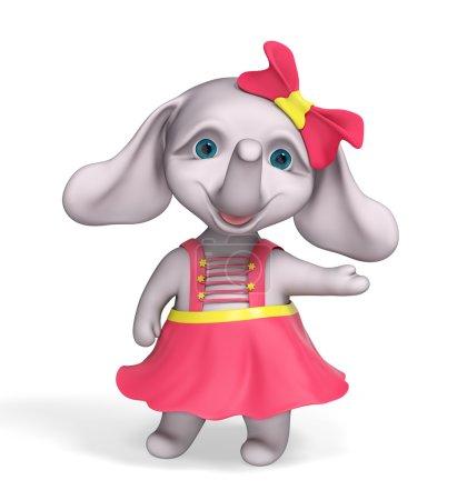 Foto de Divertido elefante bebé dibujos animados chica señalando y mostrando algo aislado sobre blanco, render 3d - Imagen libre de derechos