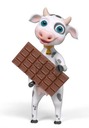 Foto de Dibujos animados carácter vaca tiene barra de chocolate en manos aisladas, render 3d - Imagen libre de derechos