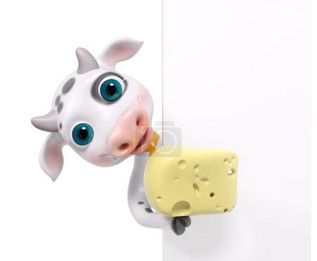 Foto de Vaca de personaje de dibujos animados divertidos con queso, aislado render 3d - Imagen libre de derechos