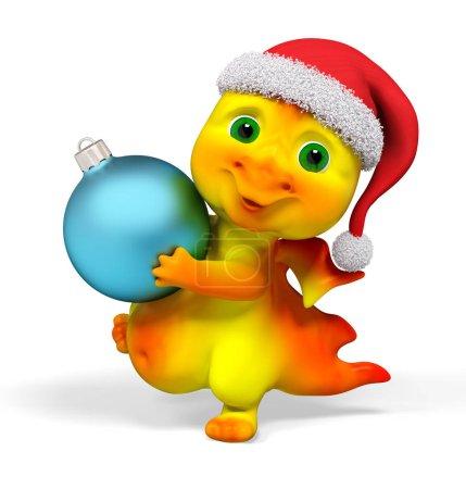 Foto de Divertido personaje dragon con decoración adorno de Navidad render 3d aislado - Imagen libre de derechos