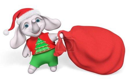 Foto de Elefante de dibujos animados de carácter Navidad llevando gran saco rojo lleno de render 3d aislado de regalos - Imagen libre de derechos