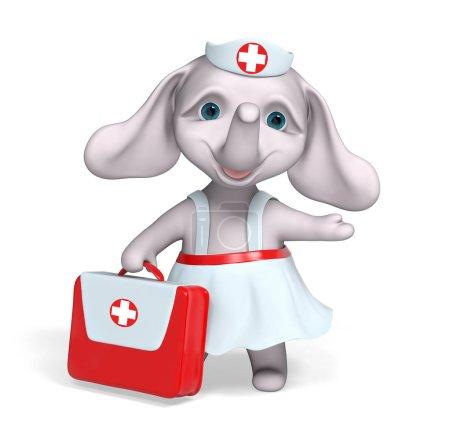 Foto de Elefante de enfermera con carácter de kit de primeros auxilios render 3d aislado - Imagen libre de derechos