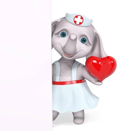 Foto de Elefante de enfermera con carácter de corazón rojo aislado render 3d - Imagen libre de derechos