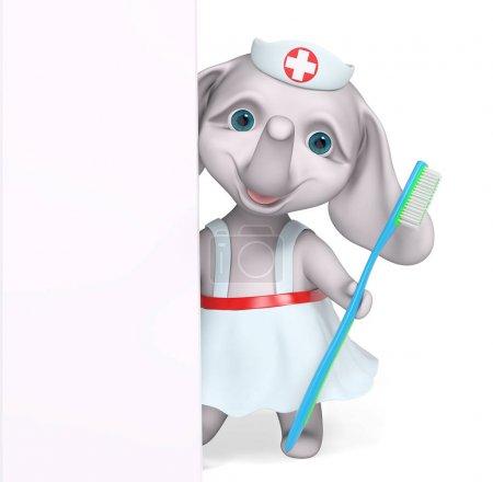 Foto de Enfermera elefante personaje detrás de cartel celebración de higiene cepillo de dientes render 3d concepto de dibujos animados - Imagen libre de derechos