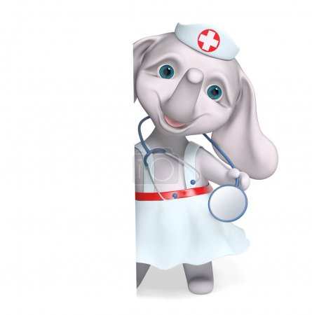 Foto de Enfermera elefante personaje detrás de cartel, con estetoscopio aislado render 3d de dibujos animados - Imagen libre de derechos