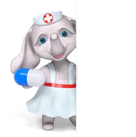 Foto de Elefante de enfermera con carácter cápsula aislada render 3d - Imagen libre de derechos