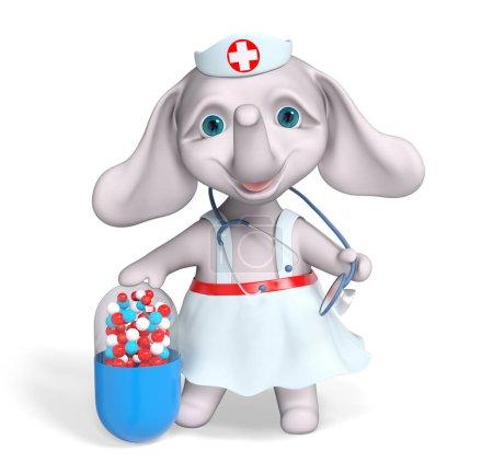 Foto de Elefante de enfermera de carácter con cápsula y un estetoscopio, aislado render 3d - Imagen libre de derechos