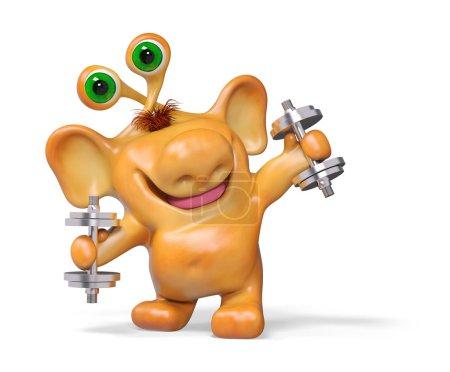 Foto de Alegre fantasía 3d dibujos animados pesas holding monster, aisladas representación - Imagen libre de derechos