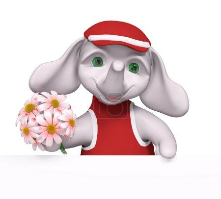 Foto de Divertido elefante personajillo con flores en las manos y renderizado 3d poster - Imagen libre de derechos