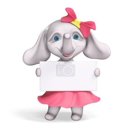 Foto de Divertido elefante bebé dibujos animados chica con cartel, render 3d aislado - Imagen libre de derechos