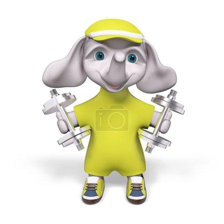 Foto de Alegre elefante 3d de dibujos animados holding pesas, aisladas representación - Imagen libre de derechos