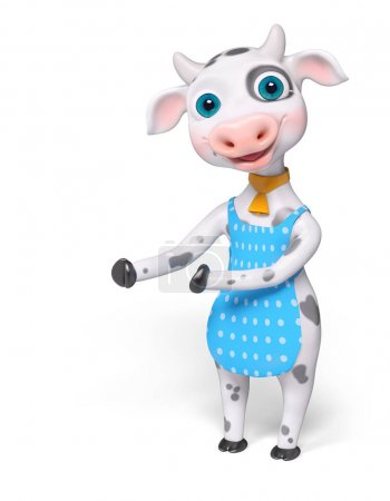 Foto de Vaca de dibujos animados, mostrar o señalar algo con las manos aisladas render 3d - Imagen libre de derechos