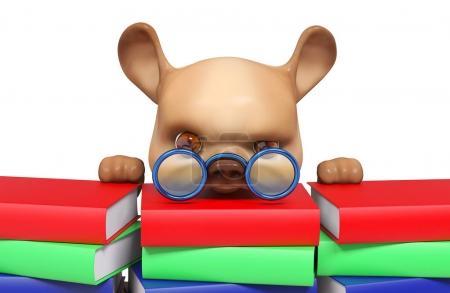 Foto de Adelantos de carácter divertido perro a pilas de libros aislado render 3d de dibujos animados - Imagen libre de derechos