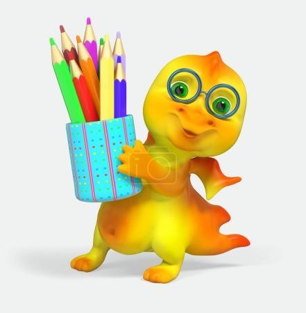 Foto de Carácter divertido pequeño dragón tiene lápiz renderizado 3d aislado - Imagen libre de derechos