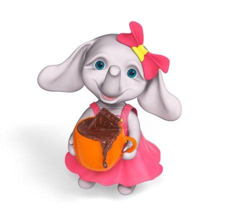 Foto de Elefante divertido personaje bebé sostener taza de fusión barra de chocolate aislado en blanco, representación 3d de dibujos animados chica - Imagen libre de derechos