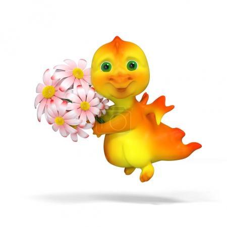 Foto de Divertido personaje dragon con flores aisladas, render 3d - Imagen libre de derechos