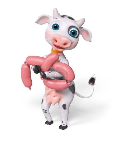 Foto de Vaca de personaje de dibujos animados tiene salchicha aislado, render 3d - Imagen libre de derechos