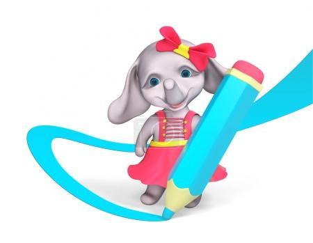 Foto de Carácter de muchacha divertida elefante dibuja con lápiz grande render 3d aislado - Imagen libre de derechos