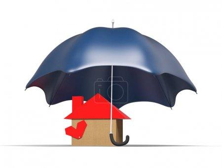Foto de Casa de amparo, concepto de seguros de propiedad, aislada render 3d - Imagen libre de derechos