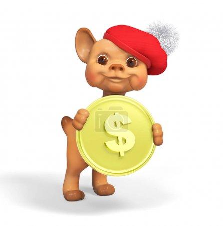 Foto de Carácter divertido perro pequeño con dinero render 3d aislado - Imagen libre de derechos
