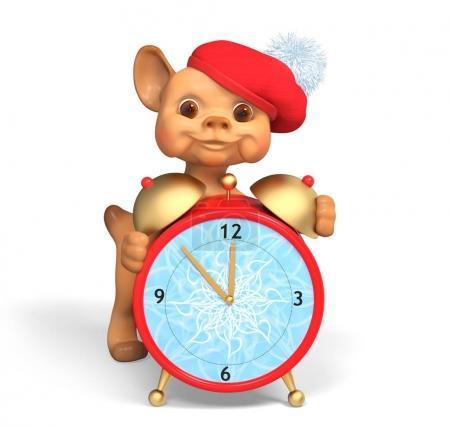 Foto de Carácter divertido perro pequeño holding rojo reloj de Navidad aislado, concepto de vacaciones render 3d - Imagen libre de derechos